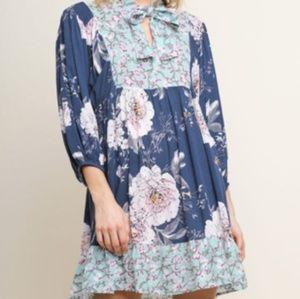 Umgee Dress NWT Boho Blue Floral
